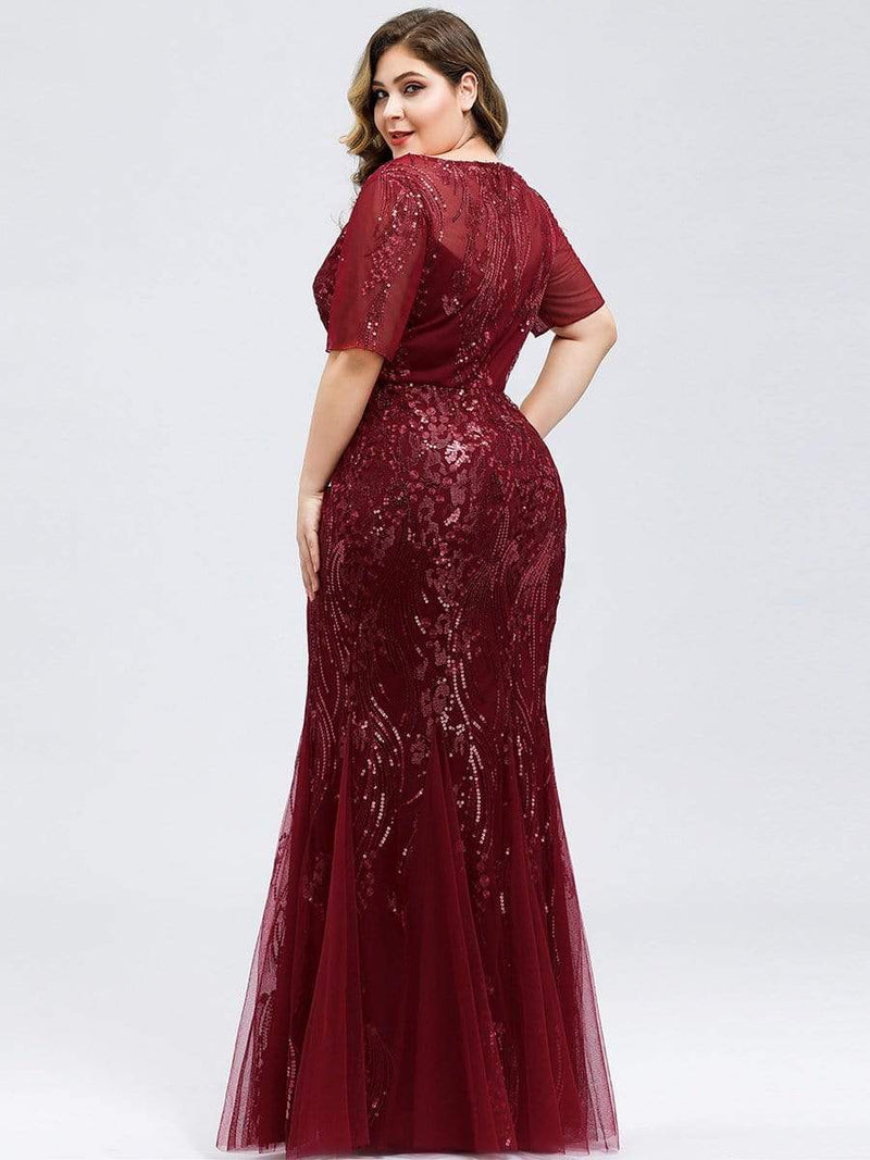 Delicate Embroidery Sequin Fishtail Evening Dress-Burgundy 17