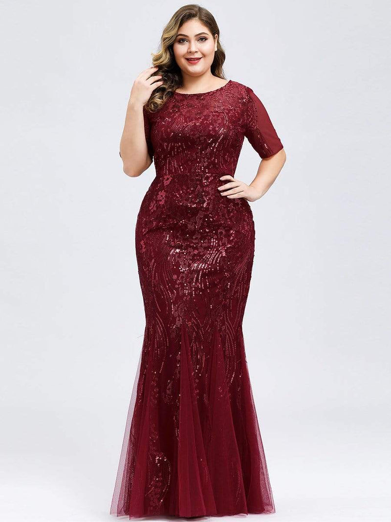 Delicate Embroidery Sequin Fishtail Evening Dress-Burgundy 6