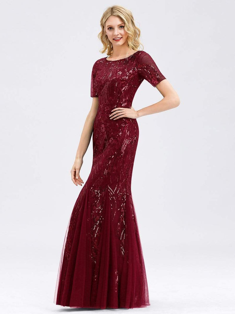 Delicate Embroidery Sequin Fishtail Evening Dress-Burgundy 12