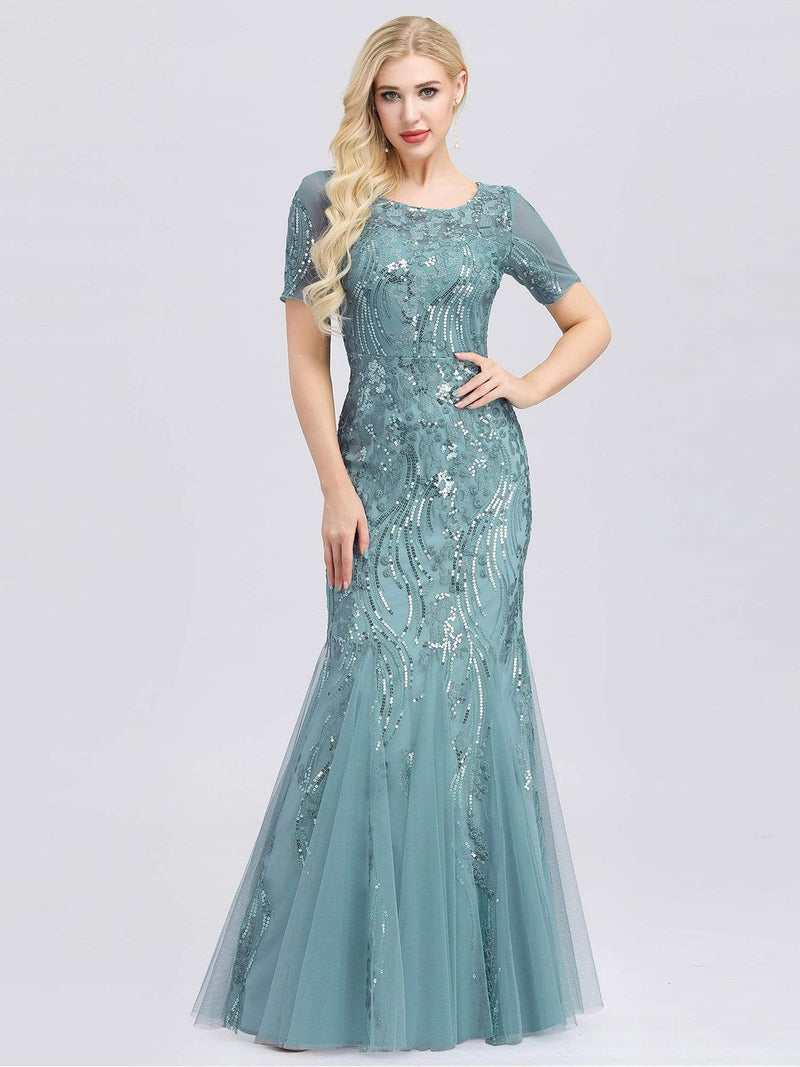 Delicate Embroidery Sequin Fishtail Evening Dress-Dusty Blue 1