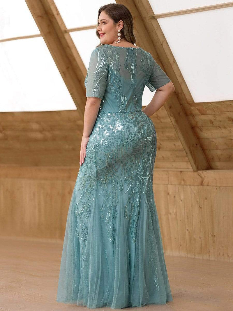 Delicate Embroidery Sequin Fishtail Evening Dress-Dusty Blue 7