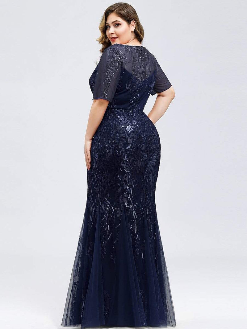 Delicate Embroidery Sequin Fishtail Evening Dress-Navy Blue 7