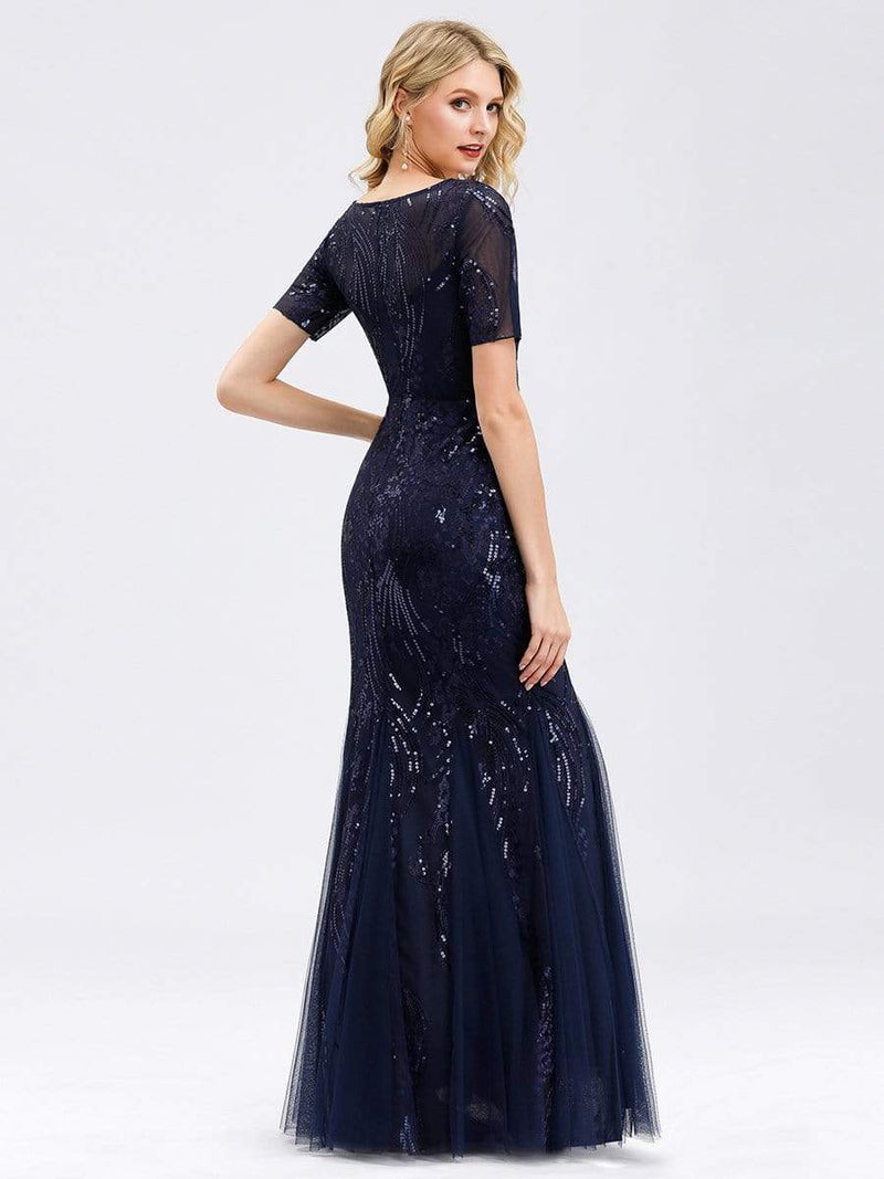 Delicate Embroidery Sequin Fishtail Evening Dress-Navy Blue 2