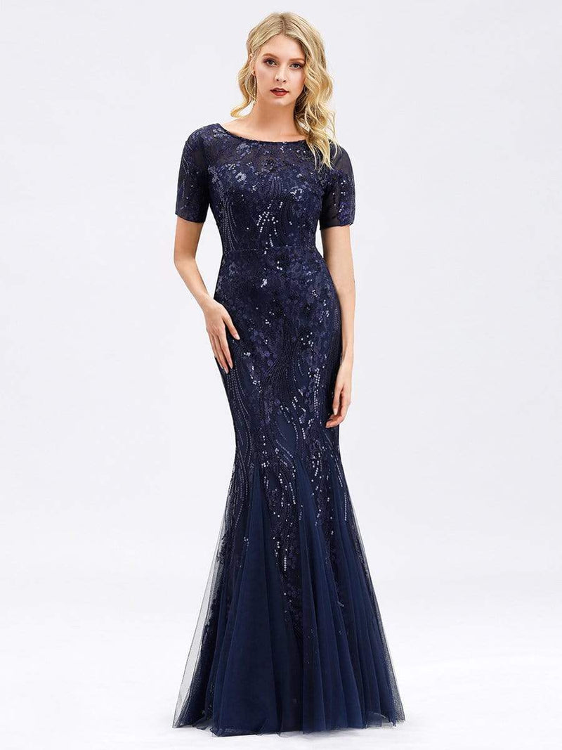 Delicate Embroidery Sequin Fishtail Evening Dress-Navy Blue 1