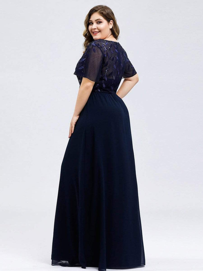 Floral Lace Sequin Print Evening Dresses With Cap Sleeve-Navy Blue 7