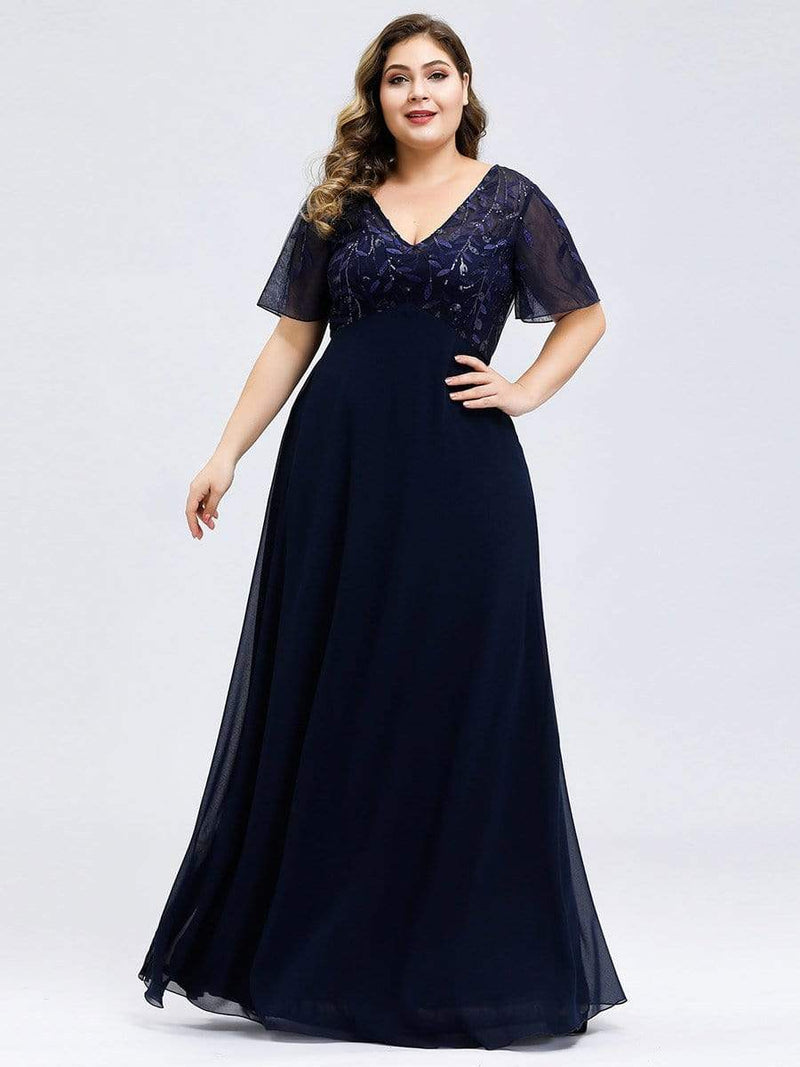 Floral Lace Sequin Print Evening Dresses With Cap Sleeve-Navy Blue 6