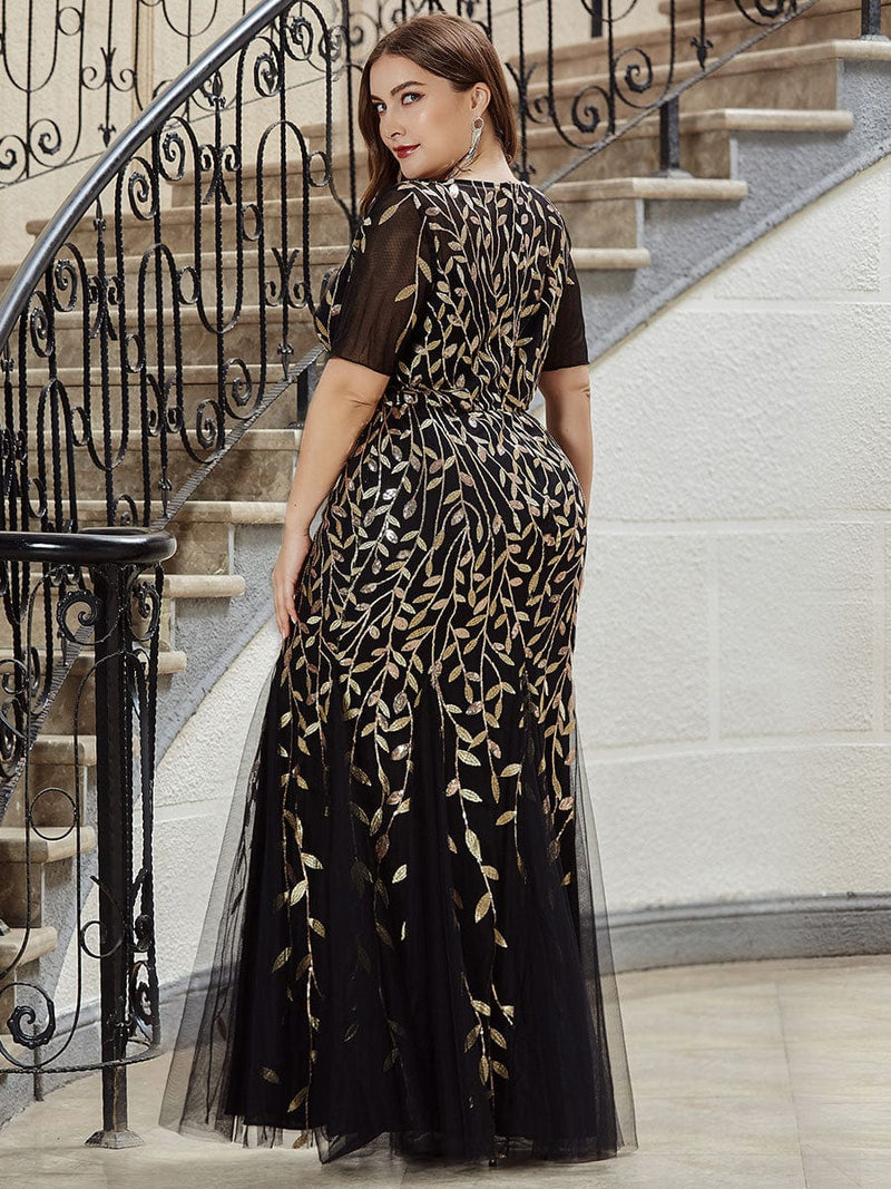 Floral Sequin Print Maxi Long Plus Size Mermaid Tulle Dresses-Black & Gold 2