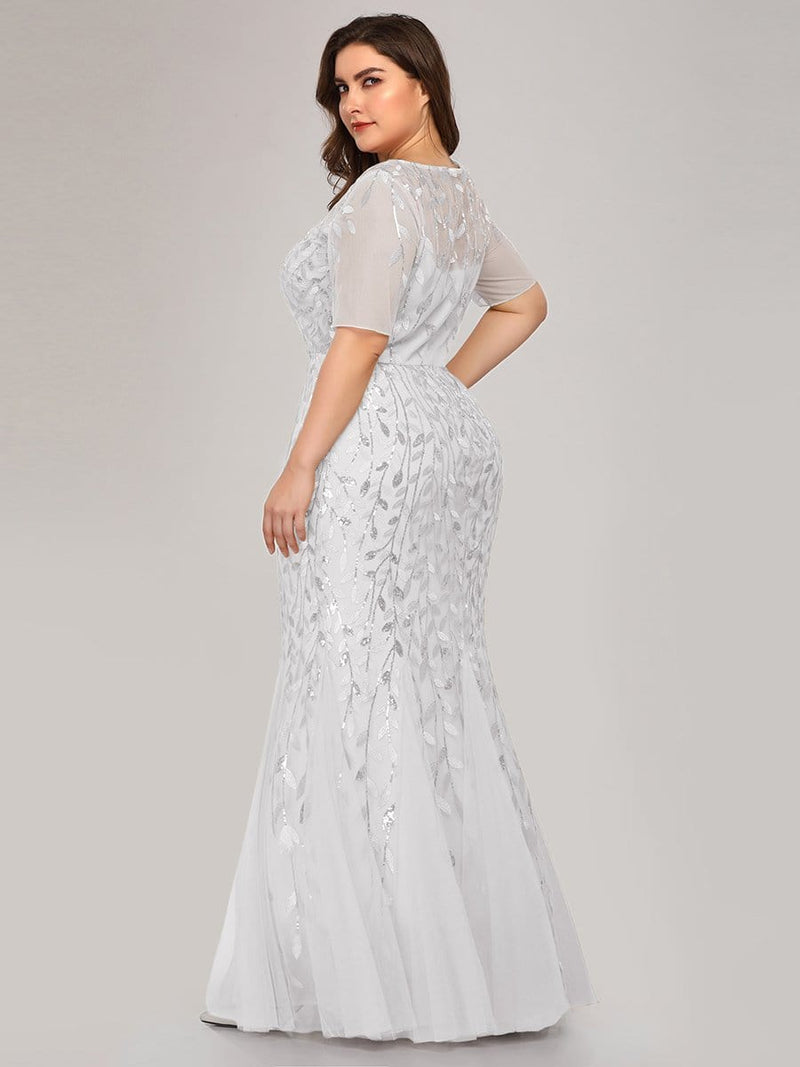 Floral Sequin Print Maxi Long Fishtail Tulle Dresses With Half Sleeve-White 5