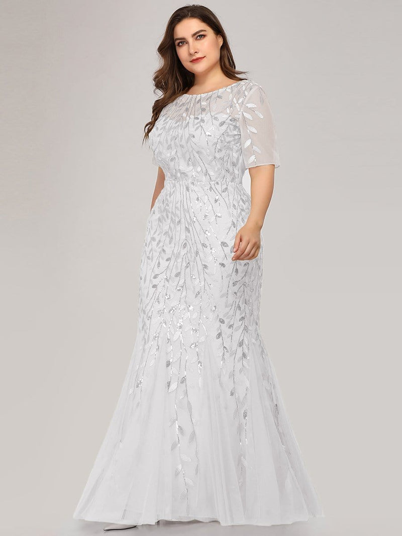 Floral Sequin Print Maxi Long Plus Size Mermaid Tulle Dresses-White 4