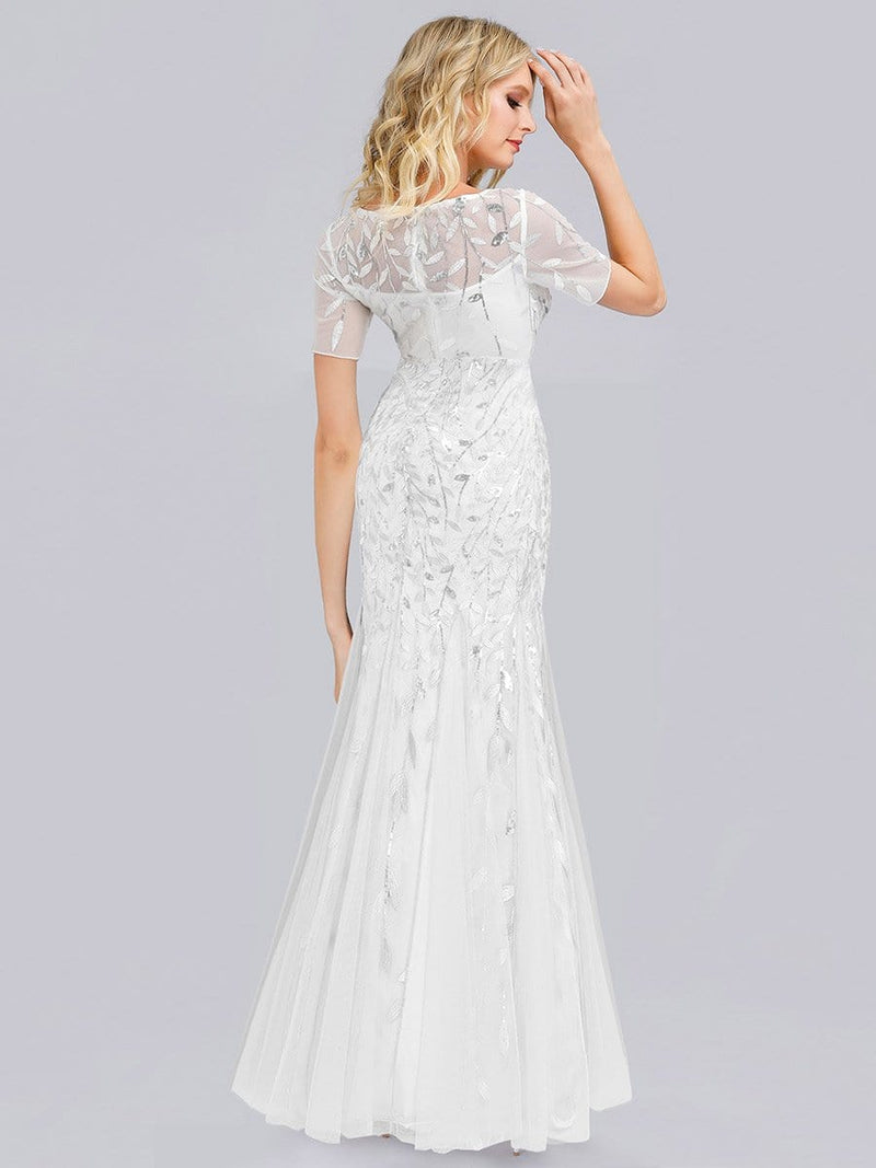 Floral Sequin Print Maxi Long Fishtail Tulle Dresses With Half Sleeve-White 2