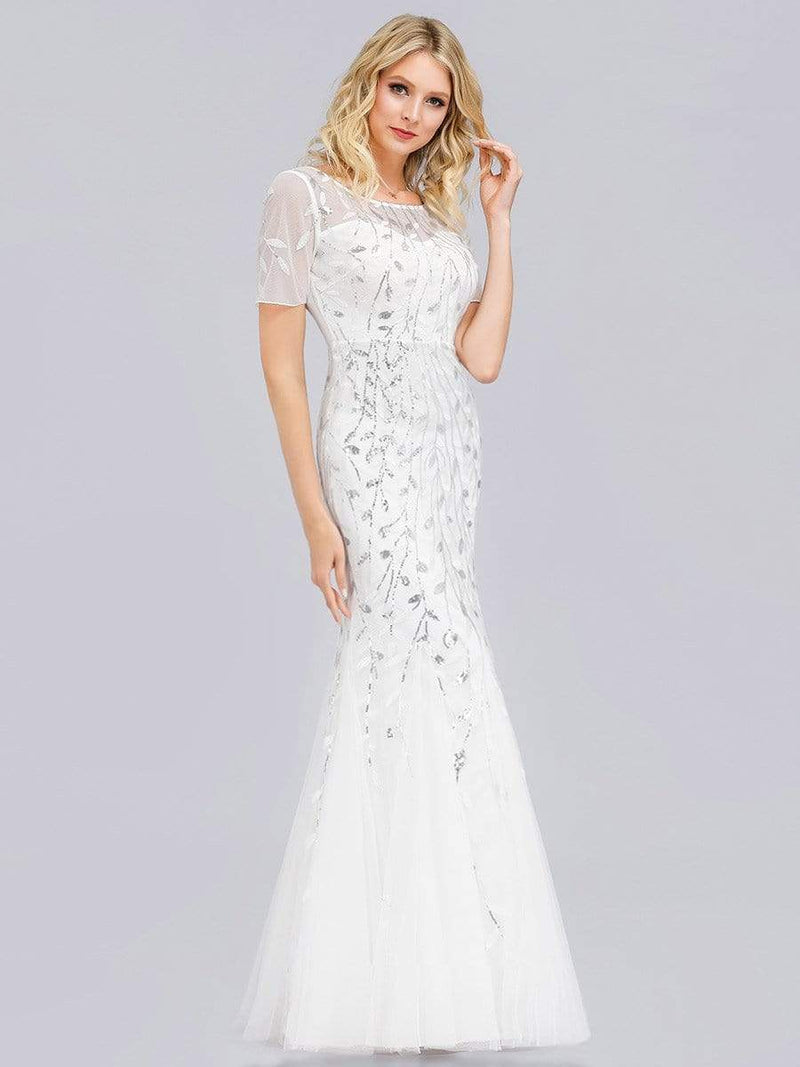 Floral Sequin Print Maxi Long Fishtail Tulle Dresses With Half Sleeve-White 3