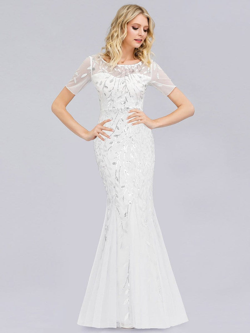 Floral Sequin Print Maxi Long Fishtail Tulle Dresses With Half Sleeve-White 1
