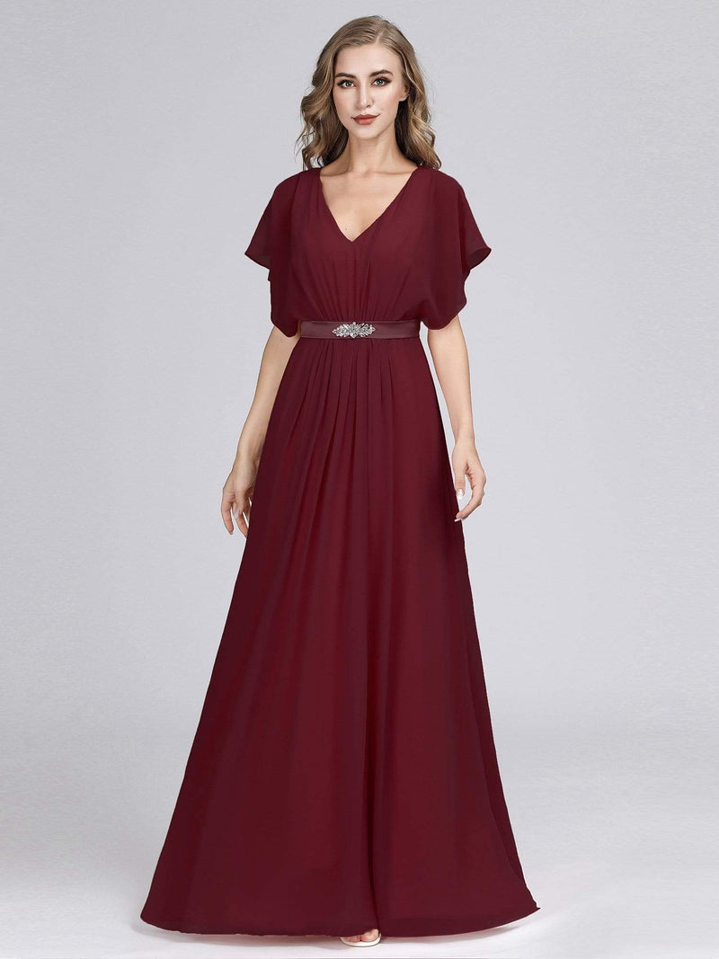 Long Flowy Evening Dress With V Neck-Burgundy 1