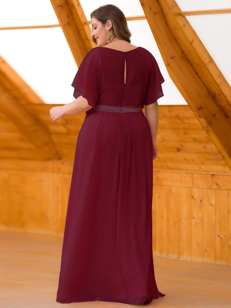 Plus Size Long Flowy Evening Dress With V Neck-Burgundy 2