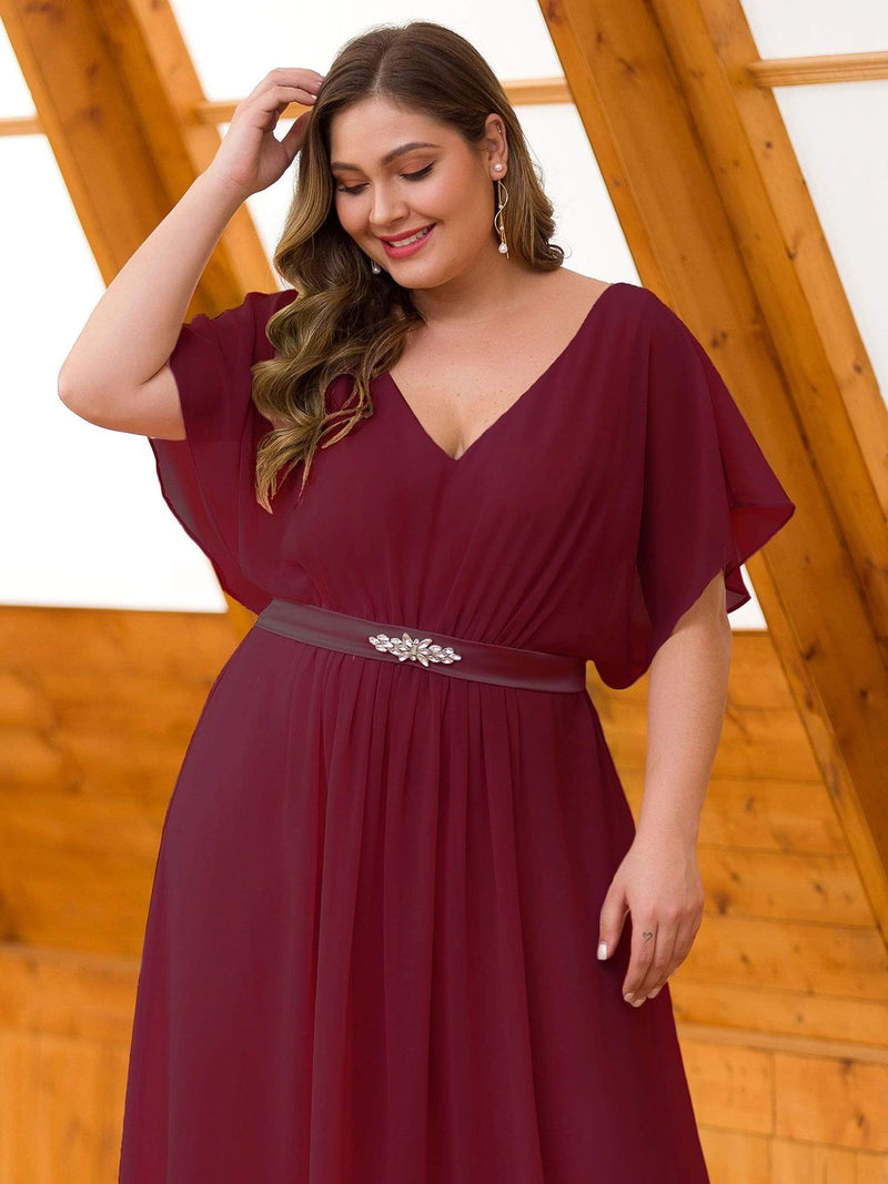 Plus Size Long Flowy Evening Dress With V Neck-Burgundy 5