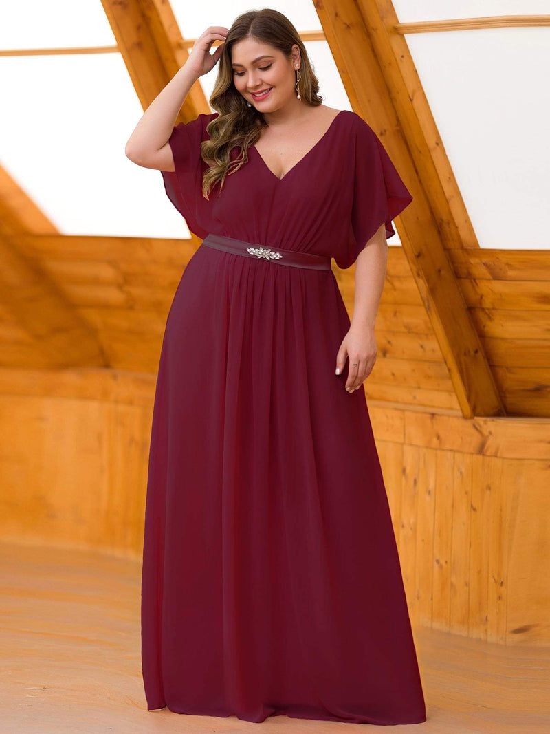 Plus Size Long Flowy Evening Dress With V Neck-Burgundy 1