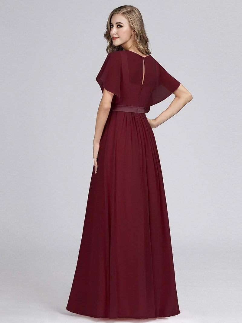 Long Flowy Evening Dress With V Neck-Burgundy 2