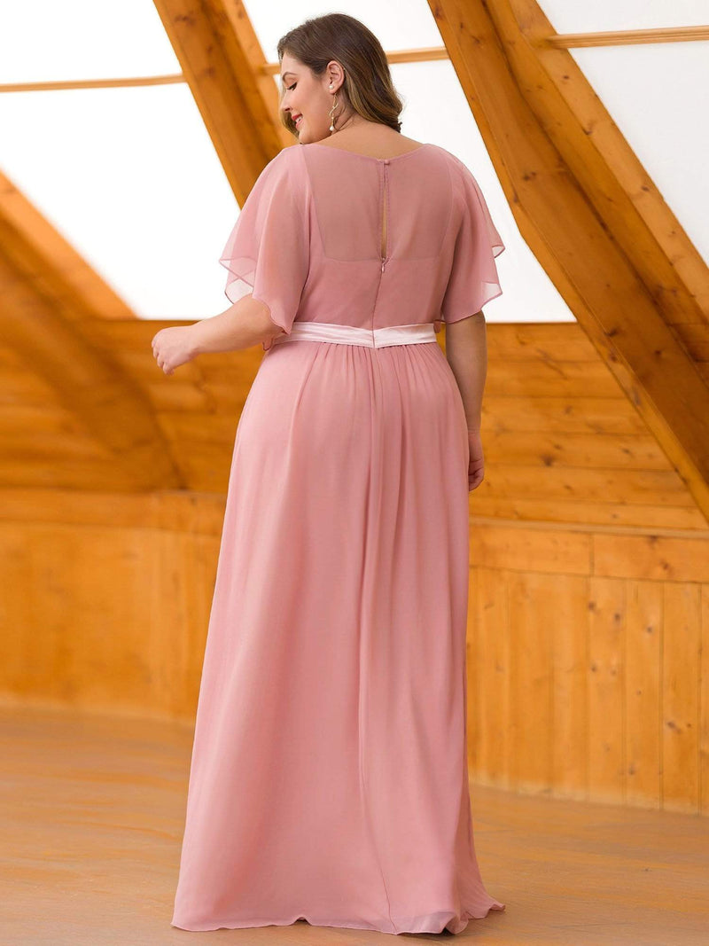 Plus Size Long Flowy Evening Dress With V Neck-Mauve 2