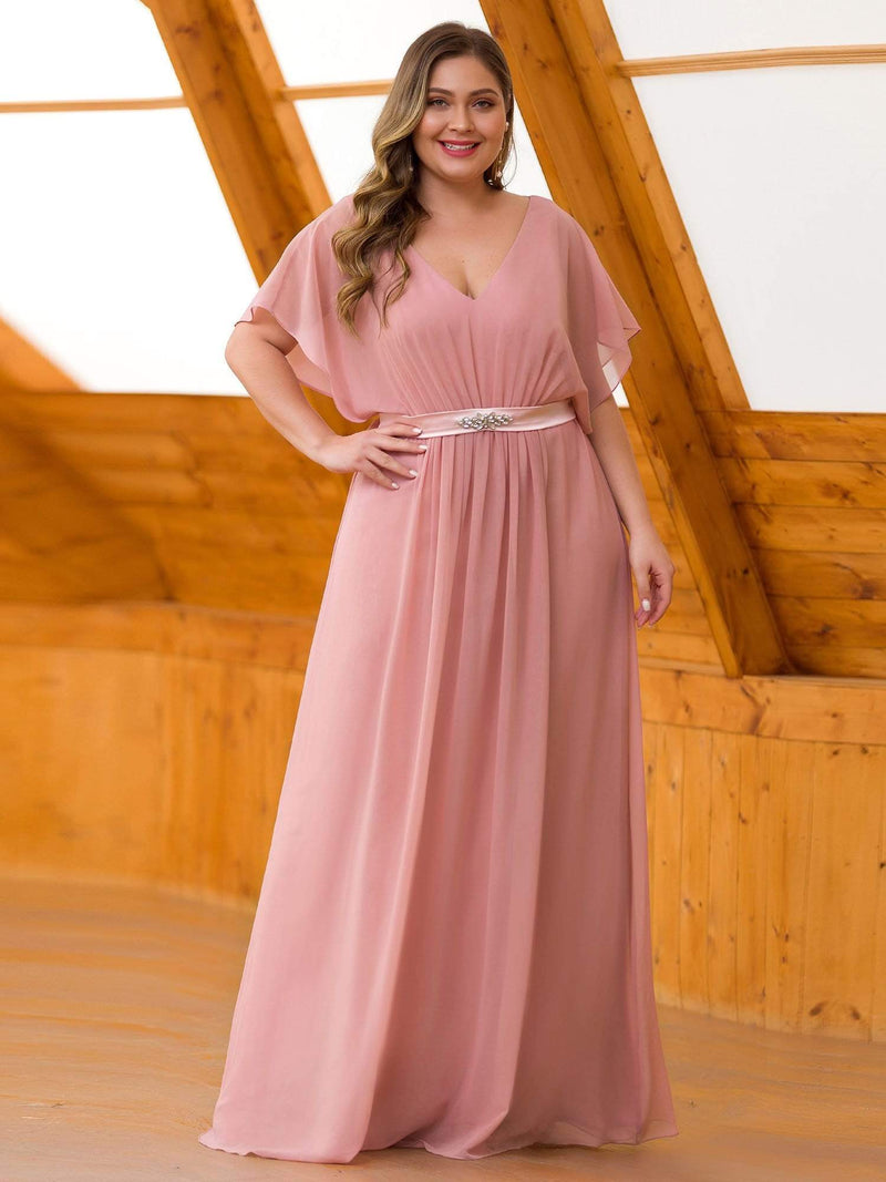 Plus Size Long Flowy Evening Dress With V Neck-Mauve 3