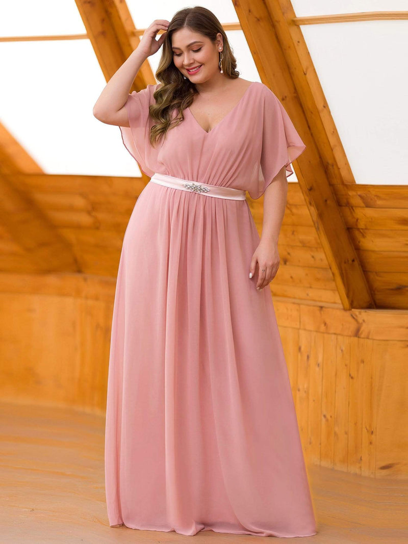 Plus Size Long Flowy Evening Dress With V Neck-Mauve 1