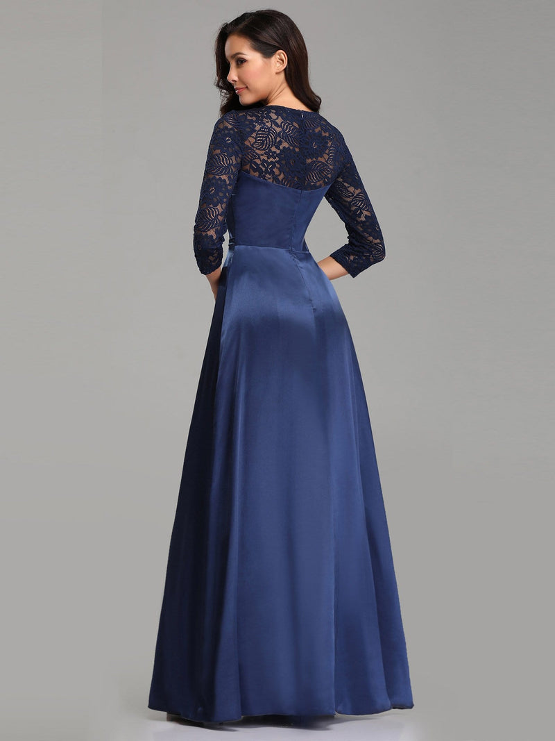 Elegant 3/4 Sleeve Maxi Long Lace Dresses For Women-Navy Blue 3
