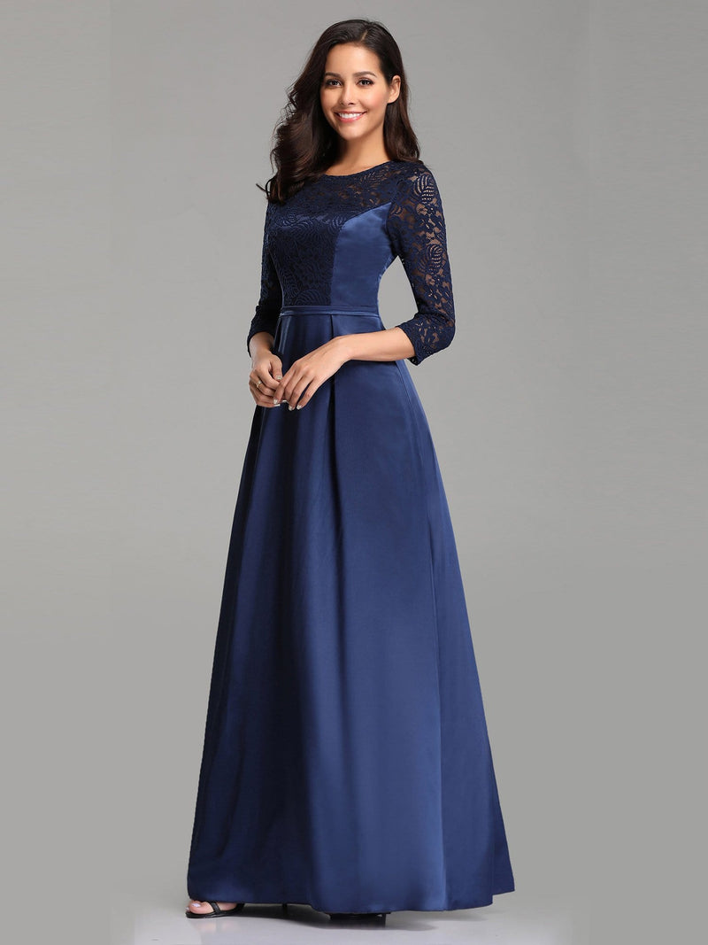 Elegant 3/4 Sleeve Maxi Long Lace Dresses For Women-Navy Blue 4