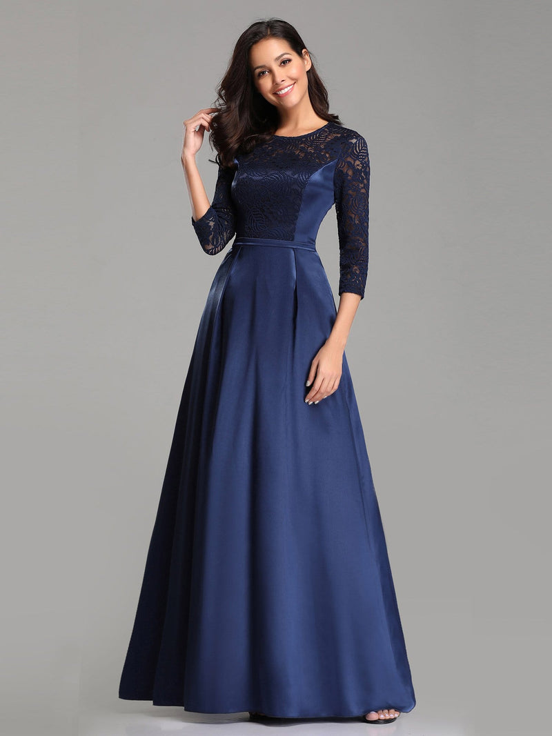 Elegant 3/4 Sleeve Maxi Long Lace Dresses For Women-Navy Blue 2