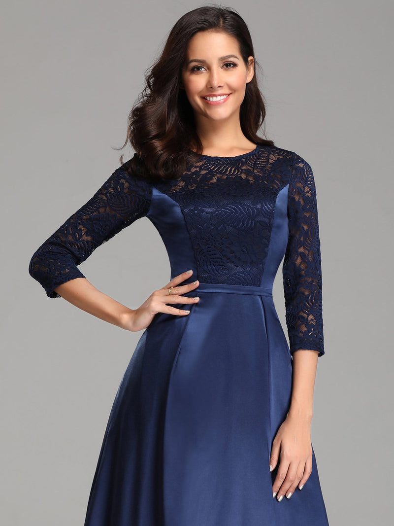Elegant 3/4 Sleeve Maxi Long Lace Dresses For Women-Navy Blue 5