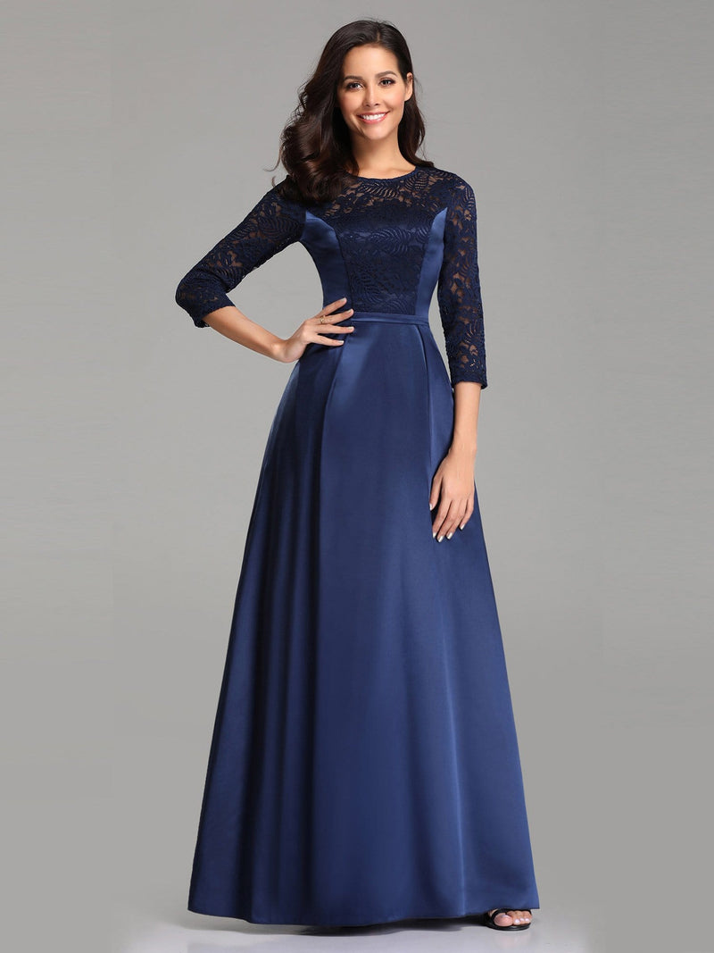 Elegant 3/4 Sleeve Maxi Long Lace Dresses For Women-Navy Blue 1