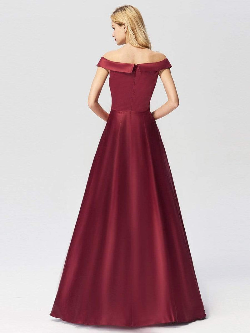 Women'S Elegant Off Shoulder Floor Length Prom Dress-Burgundy 3
