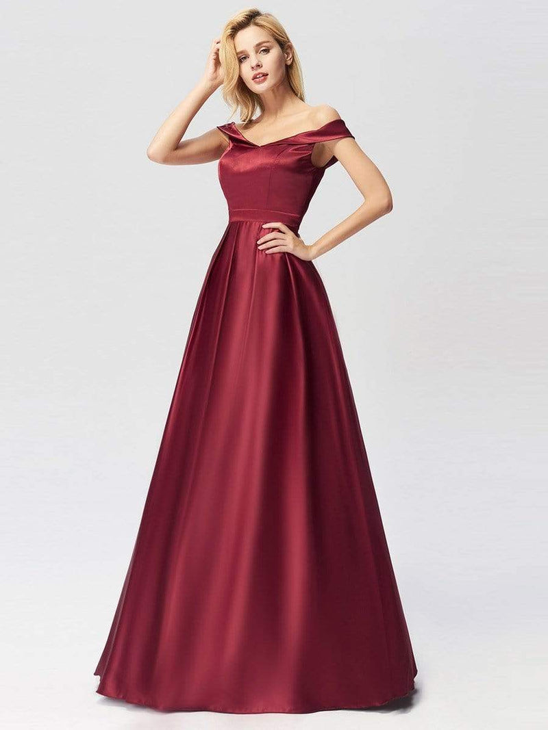 Women'S Elegant Off Shoulder Floor Length Prom Dress-Burgundy 2