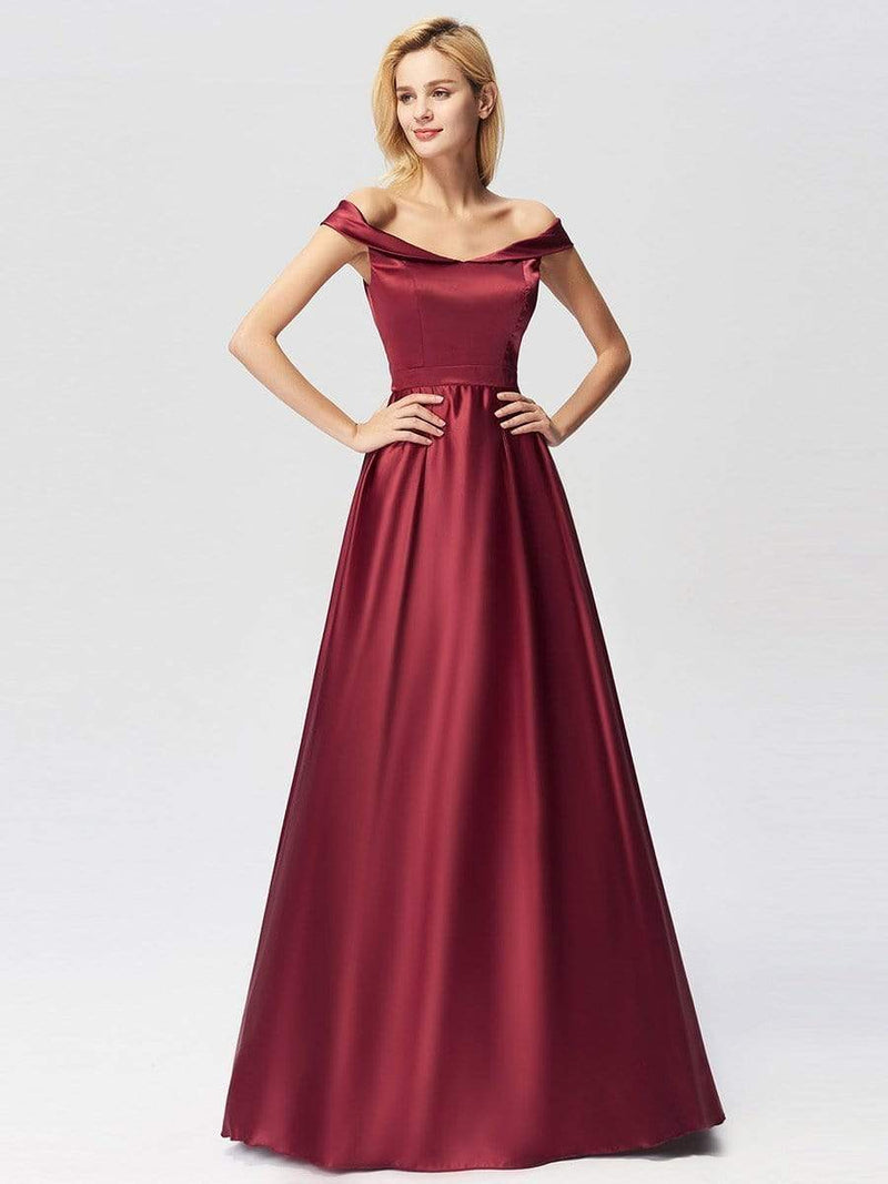 Women'S Elegant Off Shoulder Floor Length Prom Dress-Burgundy 4