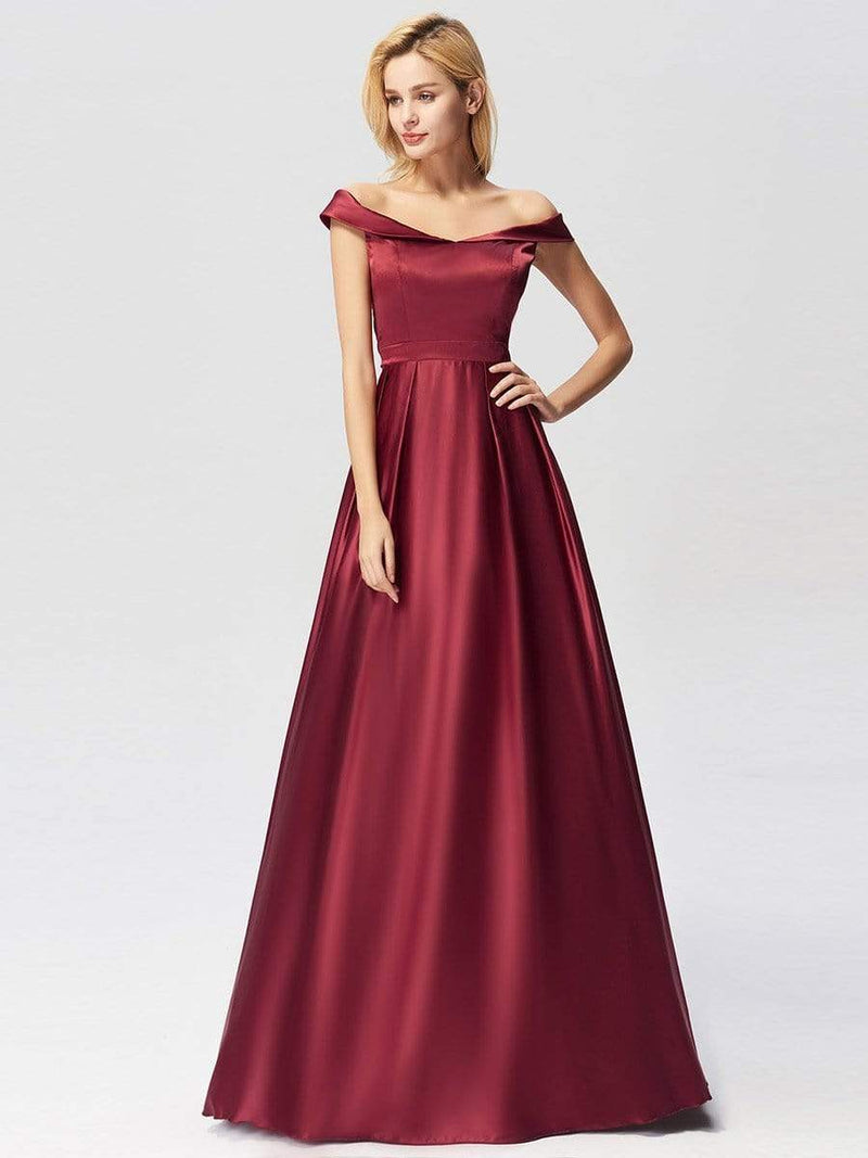 Women'S Elegant Off Shoulder Floor Length Prom Dress-Burgundy 1