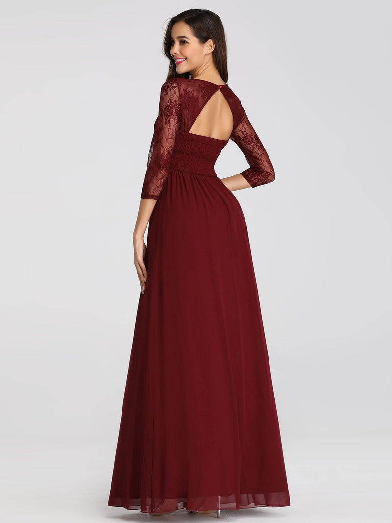 V-Neck Bridesmaid Dress With Half Sleeves-Burgundy 5
