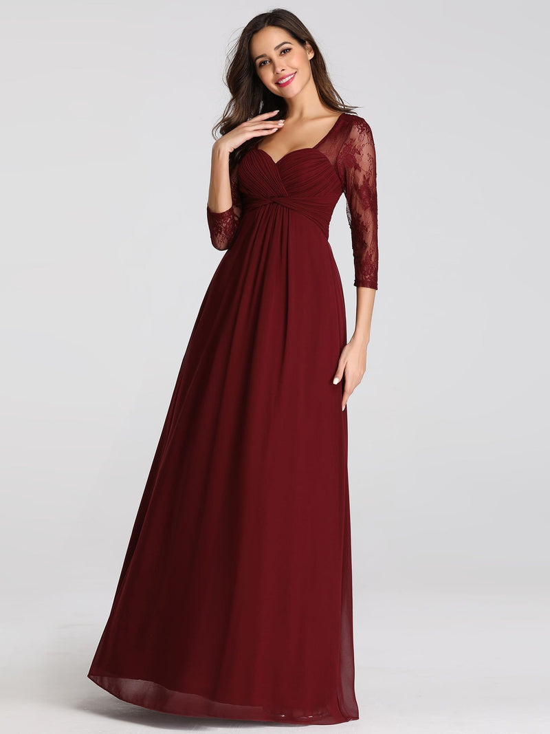 V-Neck Bridesmaid Dress With Half Sleeves-Burgundy 2