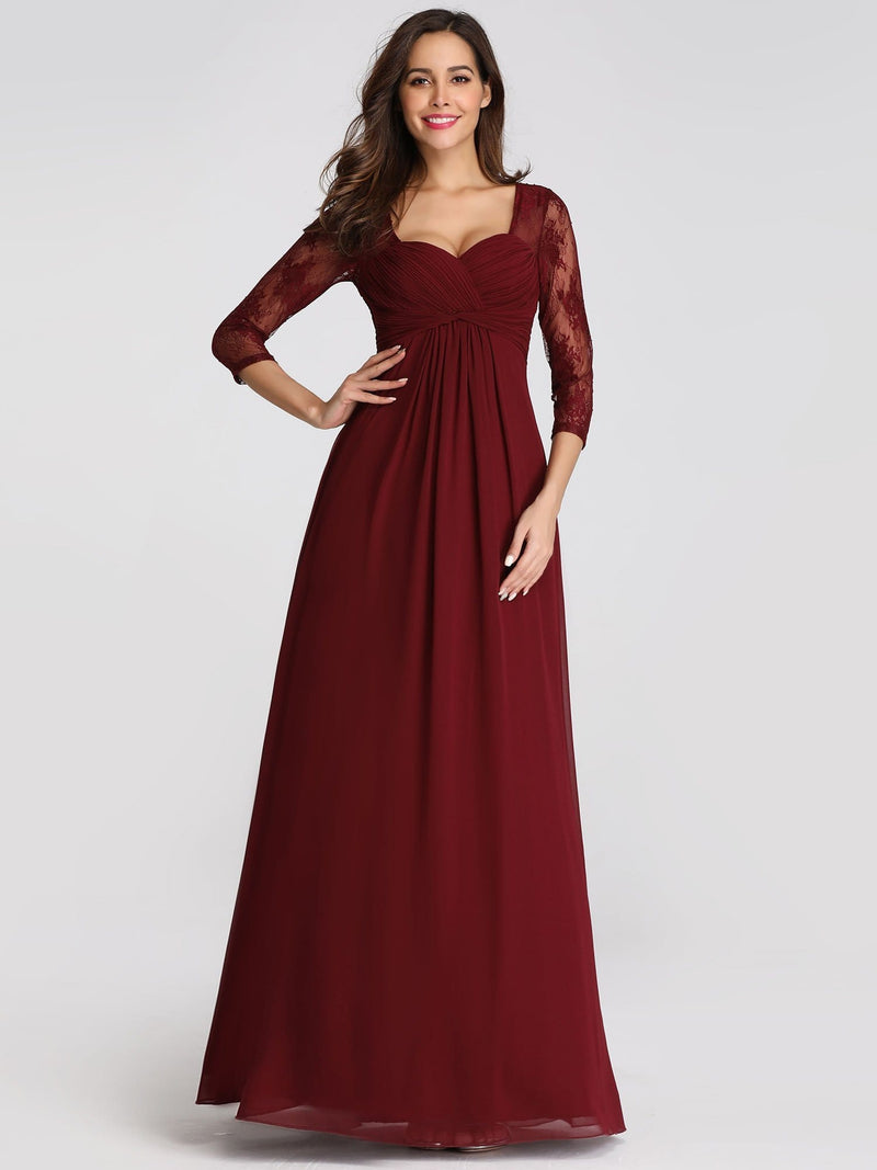 V-Neck Bridesmaid Dress With Half Sleeves-Burgundy 1