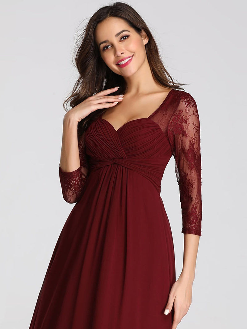 V-Neck Bridesmaid Dress With Half Sleeves-Burgundy 3