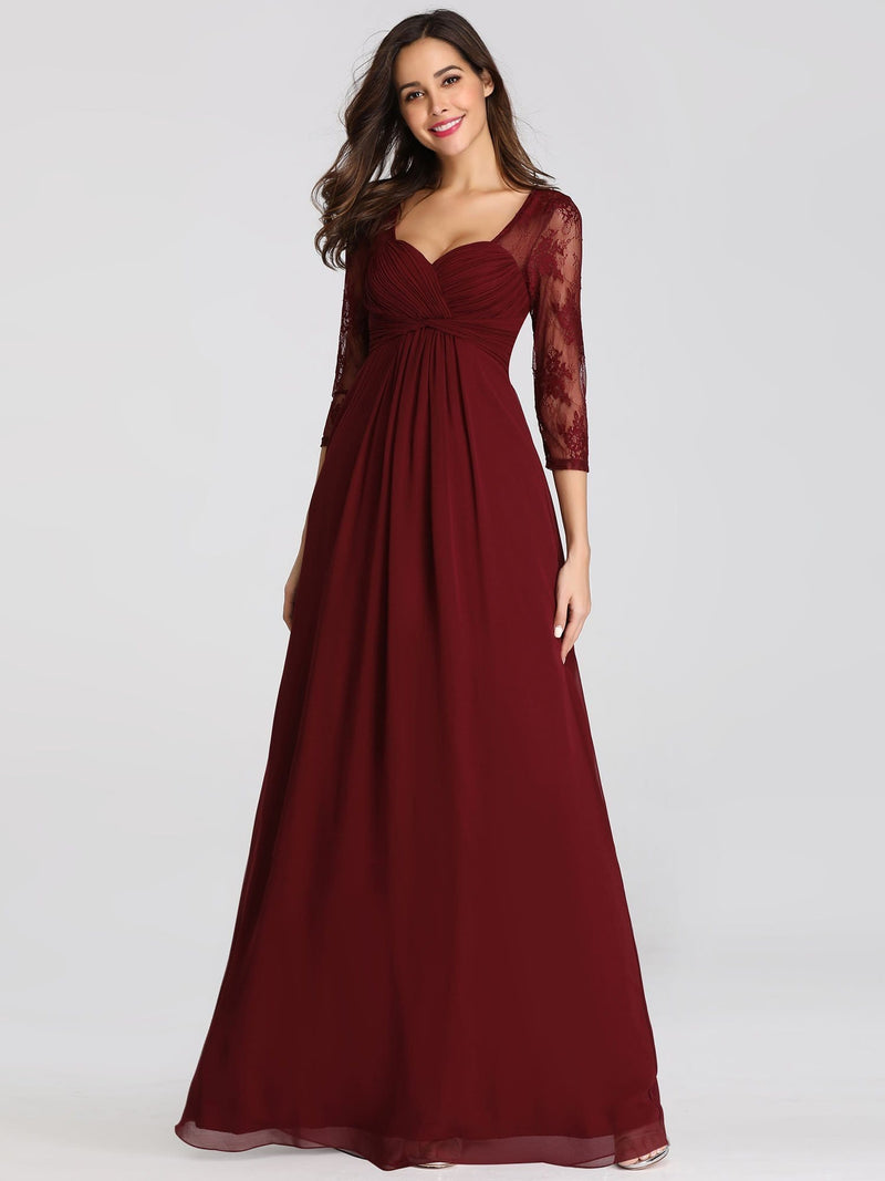 V-Neck Bridesmaid Dress With Half Sleeves-Burgundy 4