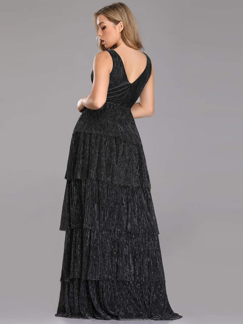 V Neck Shimmery Tiered Evening Dress-Black 2