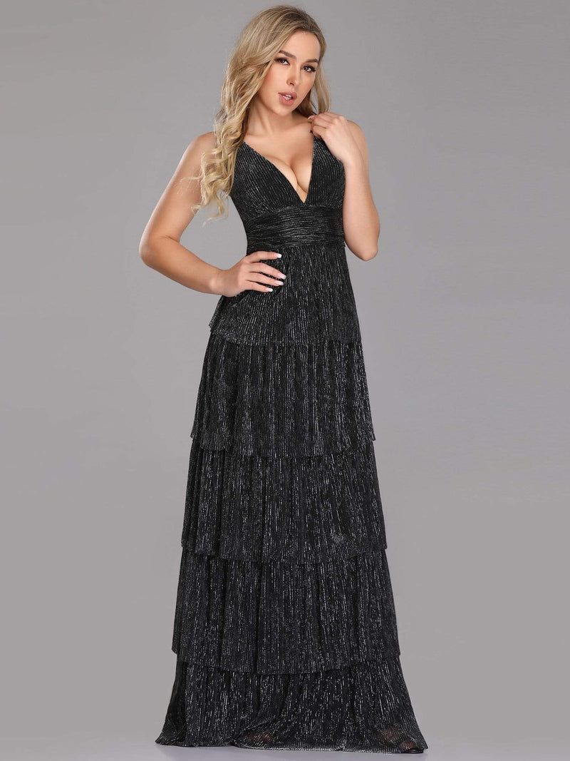 V Neck Shimmery Tiered Evening Dress-Black 3