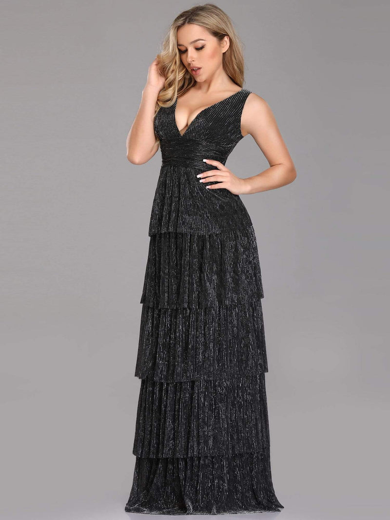 V Neck Shimmery Tiered Evening Dress-Black 4