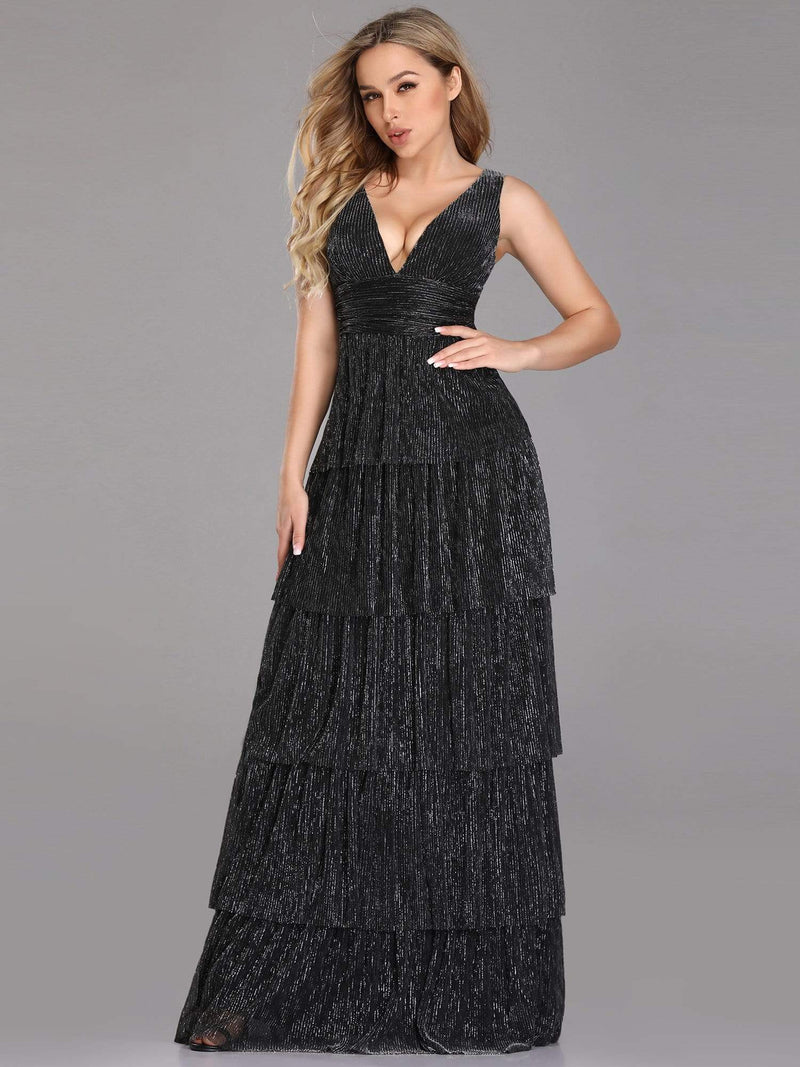 V Neck Shimmery Tiered Evening Dress-Black 1