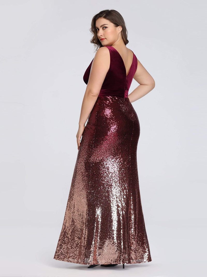 Floor Length Sequin & Velvet Maxi Long Plus Size Mermaid Prom Dresses-Burgundy 2