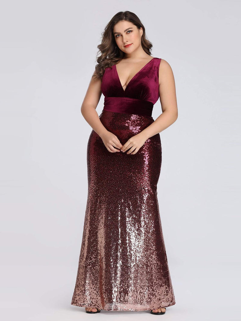 Floor Length Sequin & Velvet Maxi Long Plus Size Mermaid Prom Dresses-Burgundy 3