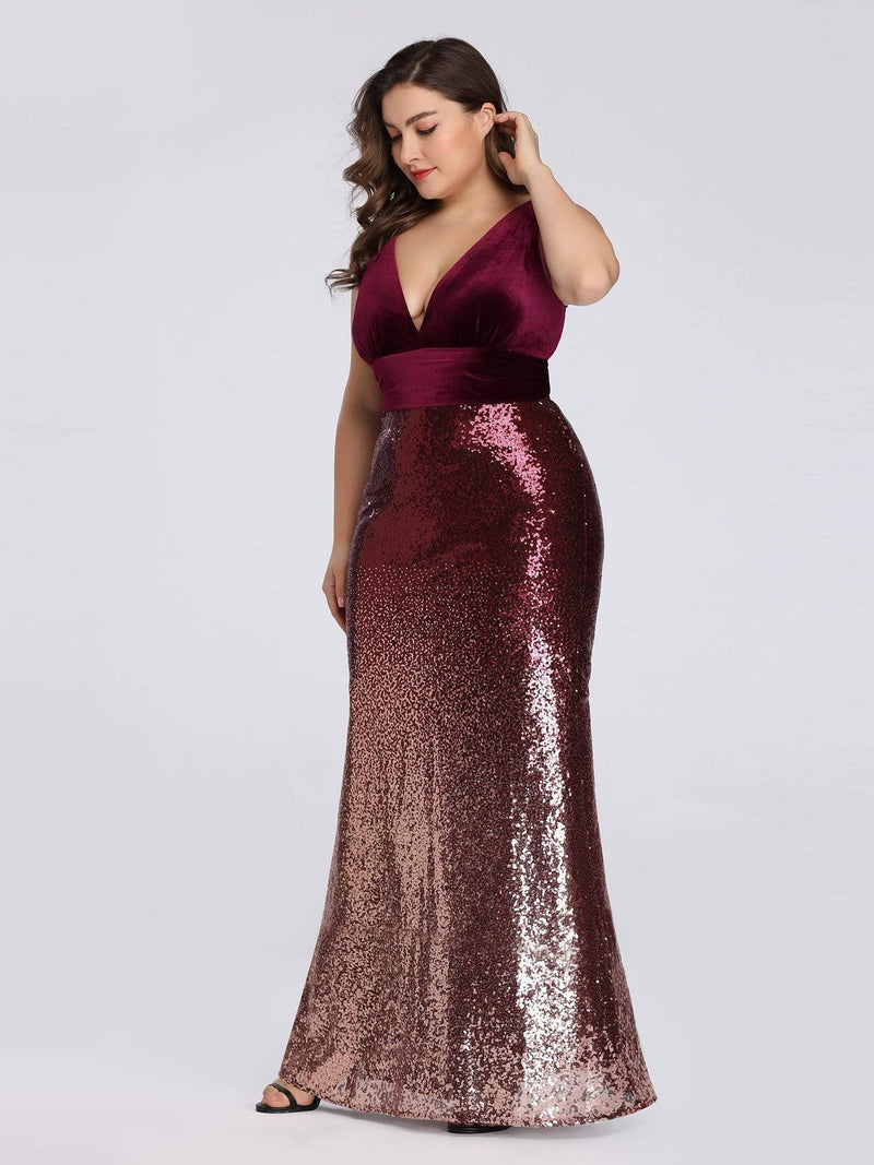 Floor Length Sequin & Velvet Maxi Long Plus Size Mermaid Prom Dresses-Burgundy 4