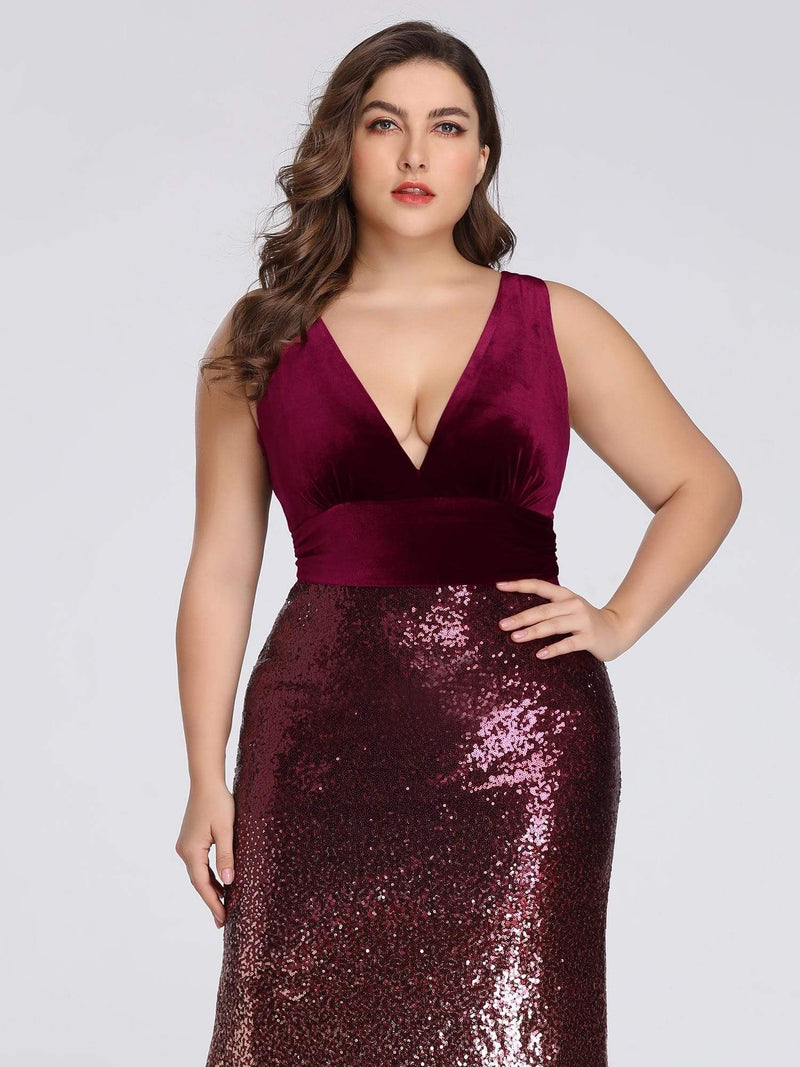 Floor Length Sequin & Velvet Maxi Long Plus Size Mermaid Prom Dresses-Burgundy 5