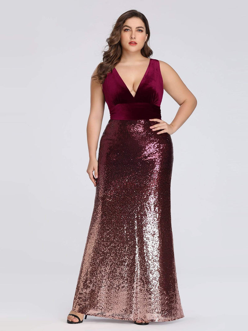Floor Length Sequin & Velvet Maxi Long Plus Size Mermaid Prom Dresses-Burgundy 1