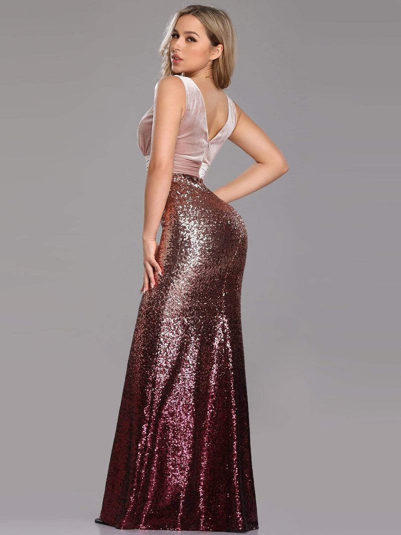 Floor Length Sequin & Velvet Maxi Long Mermaid Prom Dresses-Blush 4