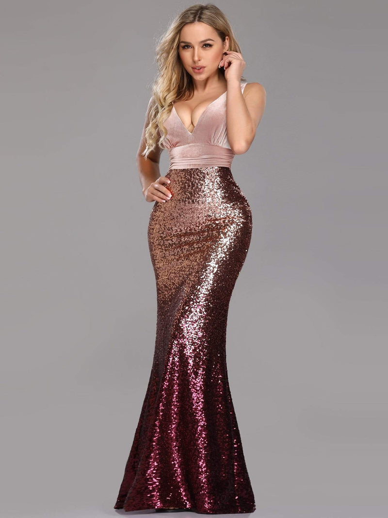 Floor Length Sequin & Velvet Maxi Long Mermaid Prom Dresses-Blush 3