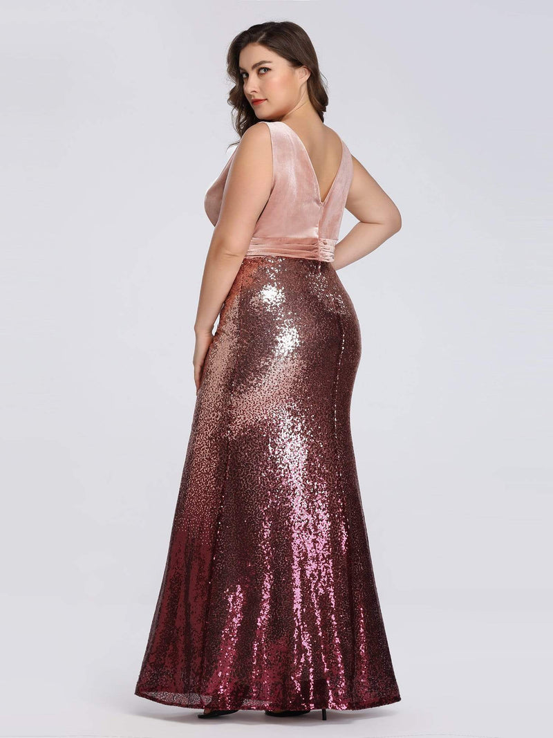 Floor Length Sequin & Velvet Maxi Long Plus Size Mermaid Prom Dresses-Blush 2